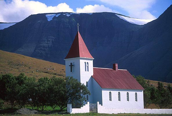 A rural church, the Westfjords, Island
