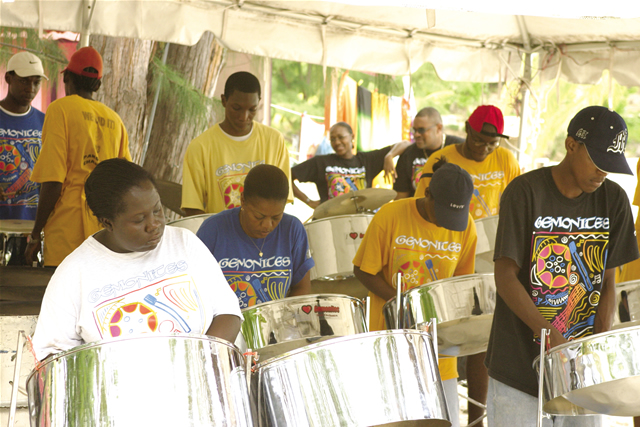 Steel band at Jolly Beach, Antigua & Barbuda