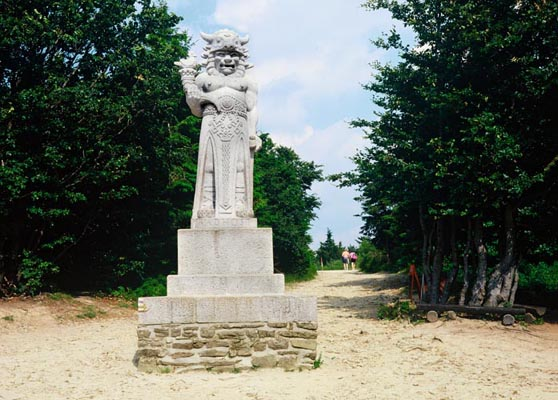 The statue of fabulous Radegast, The Beskydy Mountains, North Moravia, Tschechien