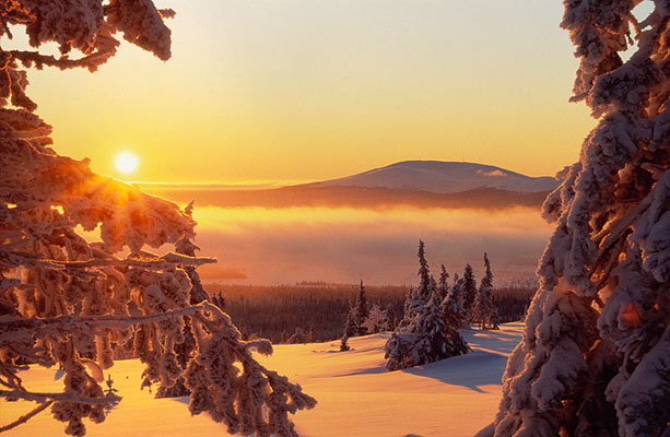 Sunset in Lapland, Finnland